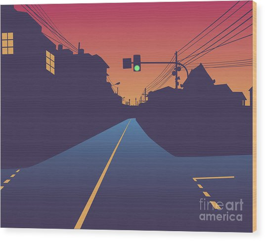 Street At Sunset Wood Print