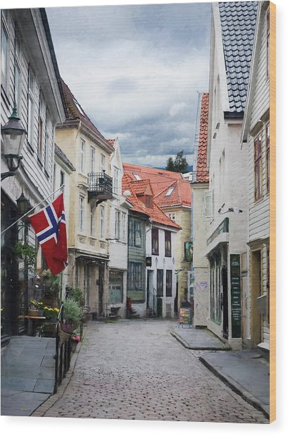 Wood Print featuring the photograph Street In Bergen, Norway by Whitney Leigh Carlson