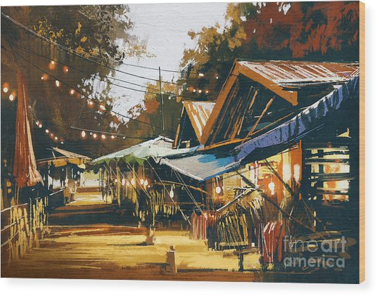 Street Of Traditional Market At Wood Print