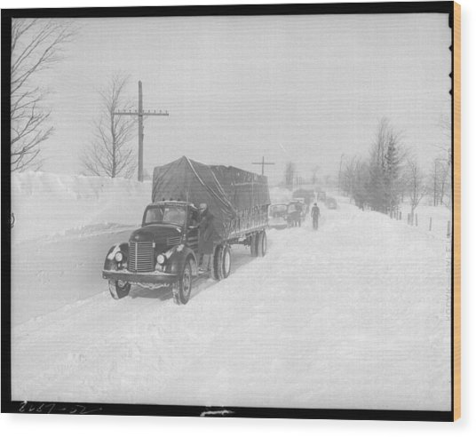 Street Scene In The Aftermath Of A Blizzard In Arthur Ontario Wood Print