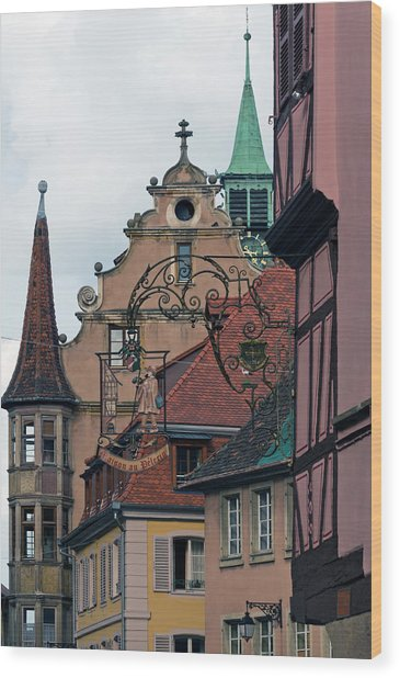 Street With Church Steeple Wood Print by John Elk Iii