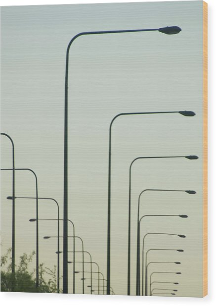Streetlights Against Afternoon Sky Wood Print