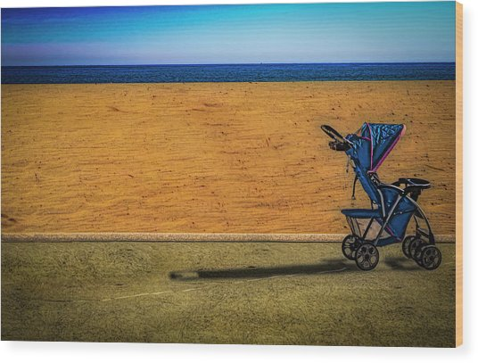 Stroller At The Beach Wood Print