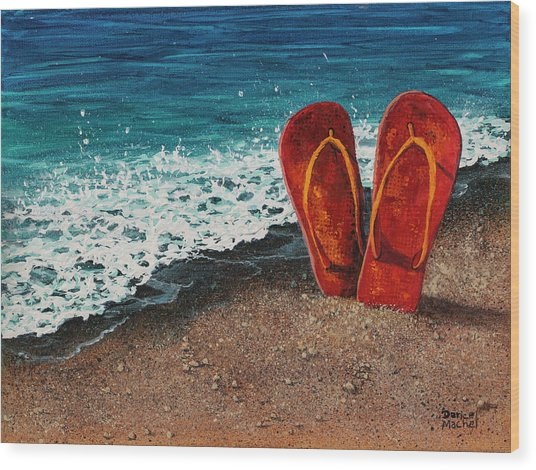 Wood Print featuring the painting Stuck In The Sand by Darice Machel McGuire