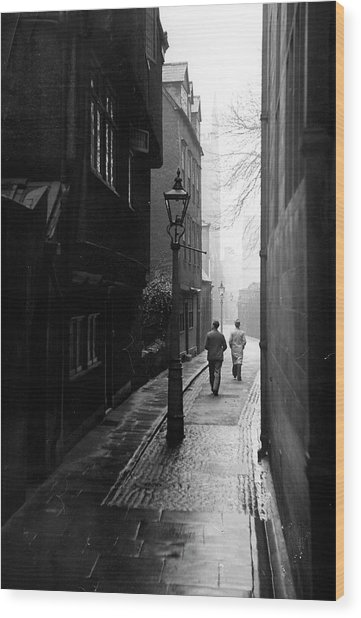 Students Walking Along Magpie Lane At Ox Wood Print