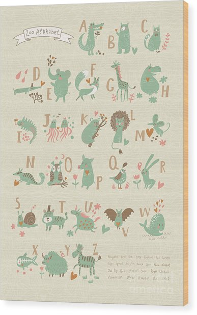 Stylish Zoo Alphabet In Vector. Lovely Wood Print by Smilewithjul