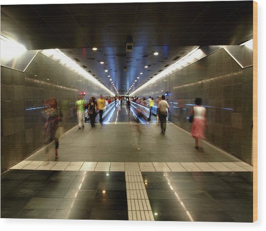 Wood Print featuring the photograph Subway Ghosts  by Edward Lee