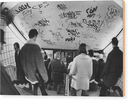 Subway Graffiti Wood Print by Fred W. McDarrah