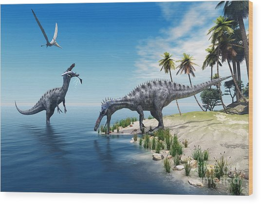 Suchomimus Dinosaurs - A Large Fish Is Wood Print