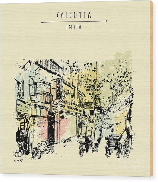 Sudder Street In Calcutta, West Bengal Wood Print