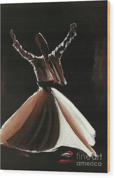 Wood Print featuring the painting Sufi-s001 by Nizar MacNojia