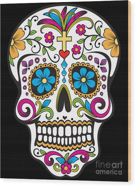 Sugar Skull Day Of The Dead Wood Print
