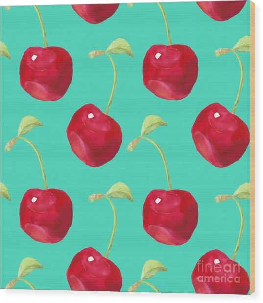 Summer Fruit Pattern. Watercolor Cherry Wood Print