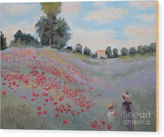 Summer Landscape Oil Painting Wood Print
