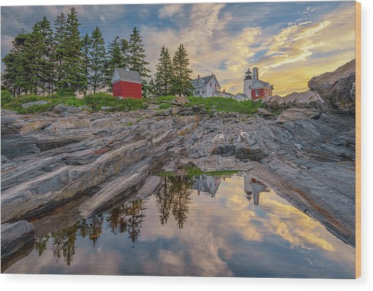 Summer Morning At Pemaquid Point Lighthouse Wood Print