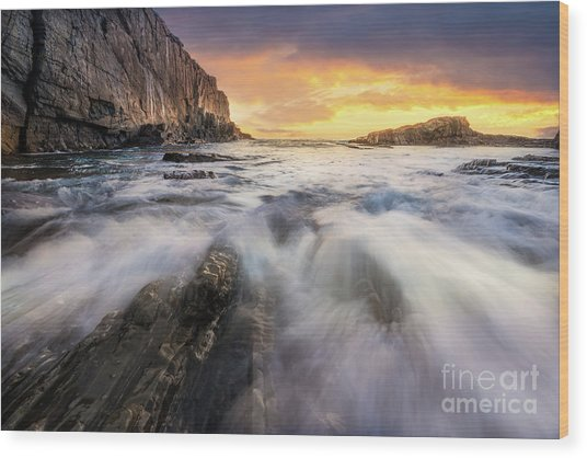 Summer Sunrise At Bald Head Cliff Wood Print