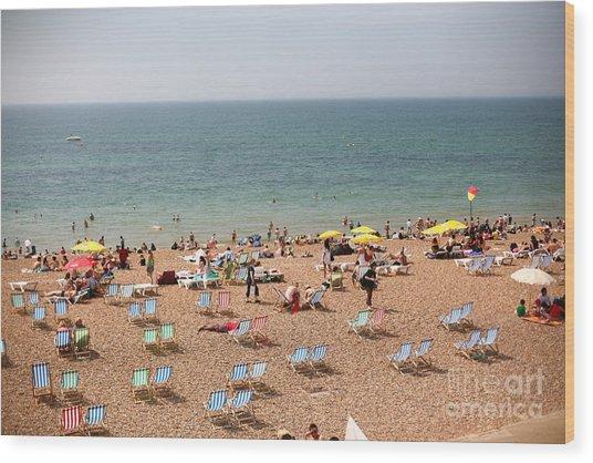 Summertime Beach Near Ocean Crowded Wood Print