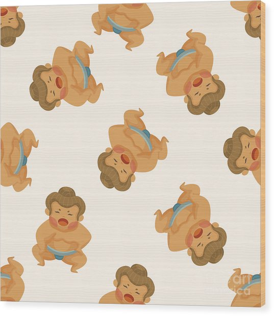 Sumo ,seamless Pattern Wood Print
