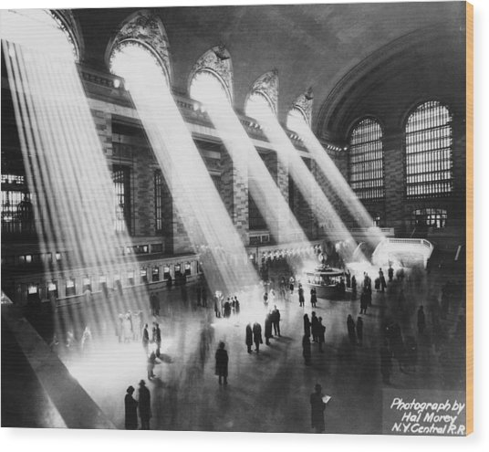 Sun Beams Into Grand Central Station Wood Print by Hal Morey