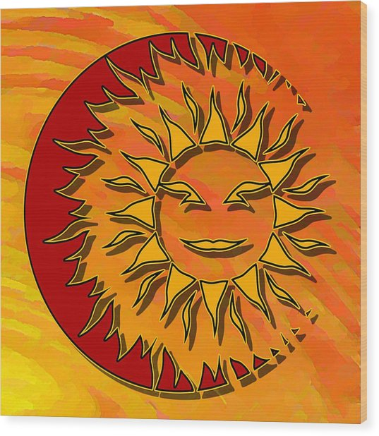 Sun Eclipsing The Moon Wood Print