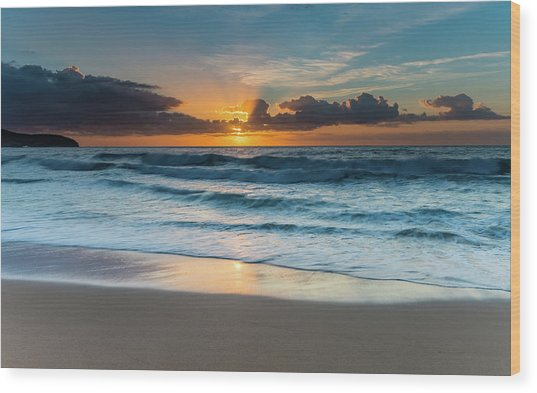 Sun Glow Seascape Wood Print
