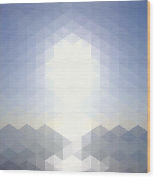 Sun Over The Sea - Abstract Geometric Wood Print by Bgblue