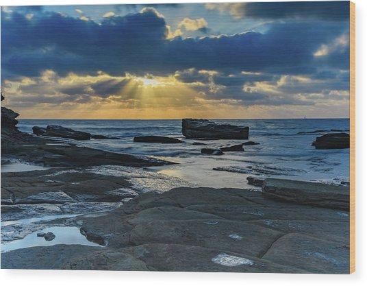 Sun Rays Burst Through The Clouds - Seascape Wood Print