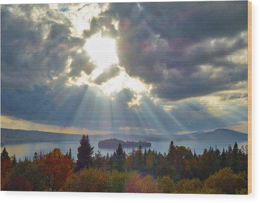 Sun Rays Over Rangeley Lake Wood Print