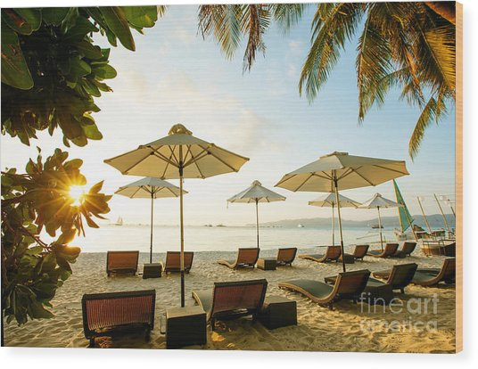 Sun Umbrellas And Beach Chairs On Wood Print