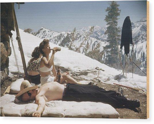 Sun Valley Snow Wood Print