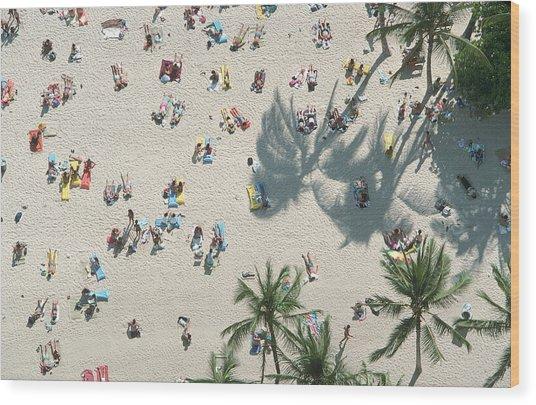 Sunbathers On Waikiki Beach, Oahu, Hi Wood Print