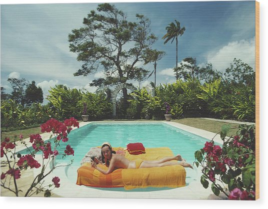 Sunbathing In Barbados Wood Print by Slim Aarons