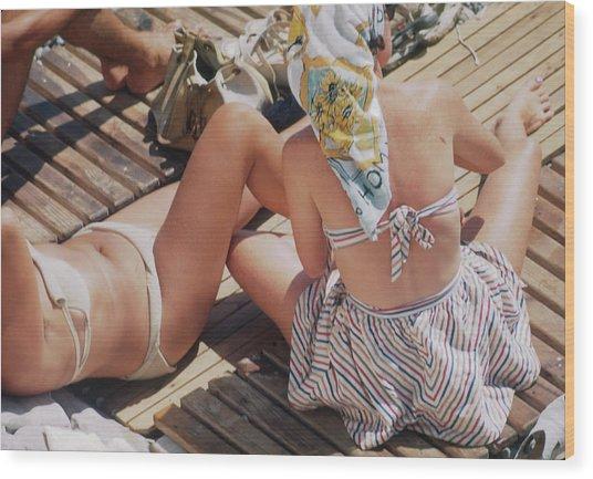 Sunbathing In Nice Wood Print by Michael Ochs Archives