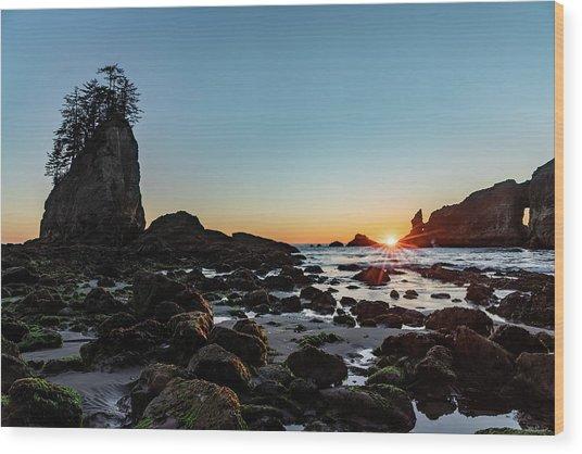 Sunburst At The Beach Wood Print