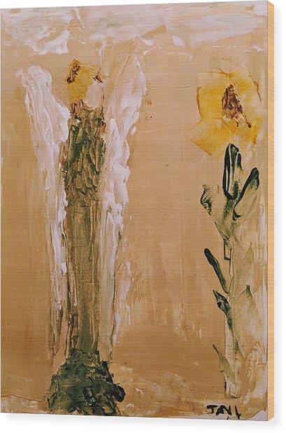Sunflower Angel Wood Print