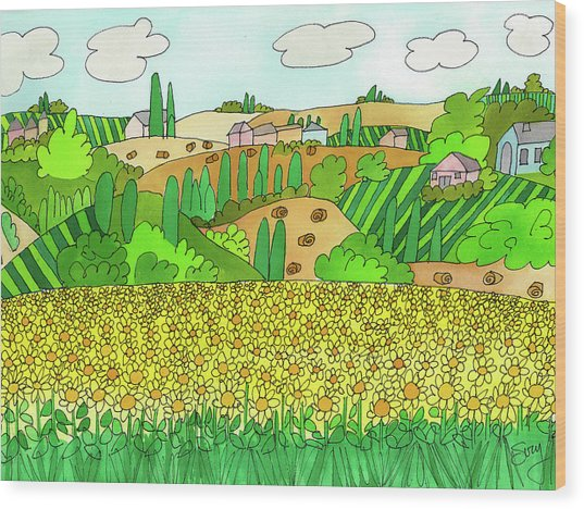Sunflower French Countryside Wood Print