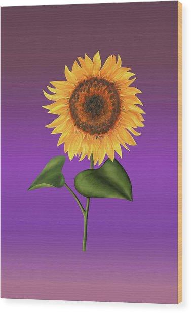 Sunflower On Purple Wood Print