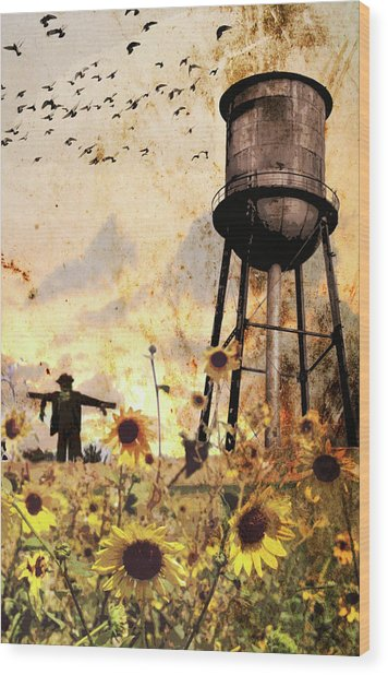 Sunflowers At Dusk Wood Print