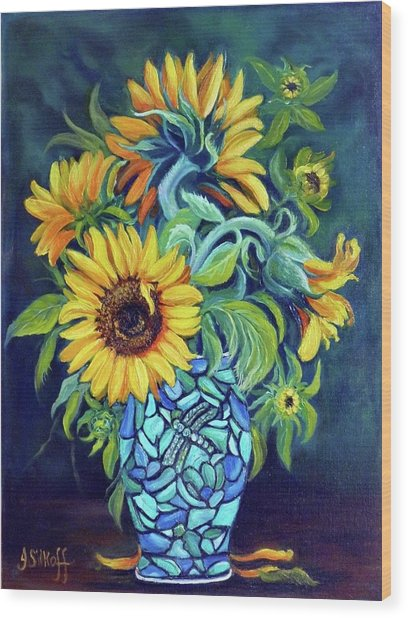 Sunflowers In An Art Deco Vase Wood Print by Janet Silkoff
