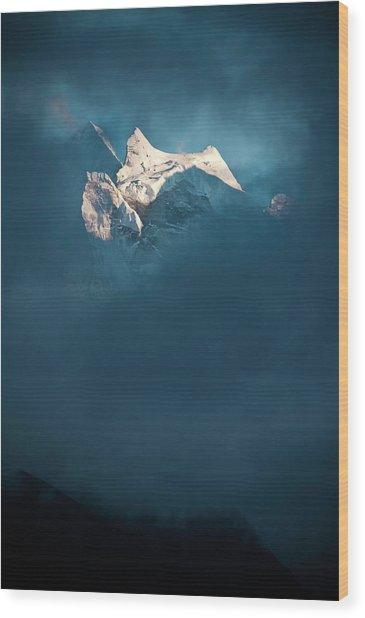 Sunlit Snow Himalaya Peak Dark Swirling Wood Print