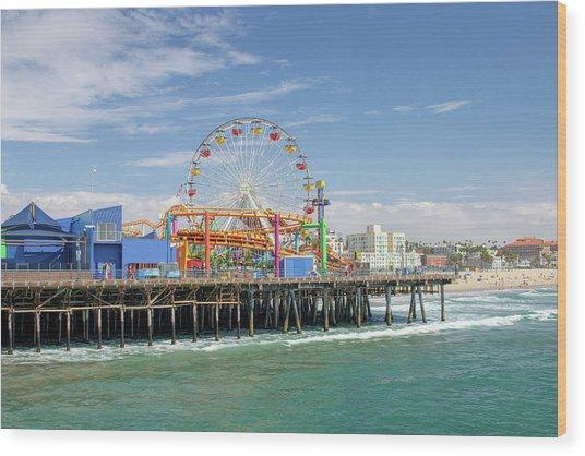 Sunny Day On The Santa Monica Pier Wood Print