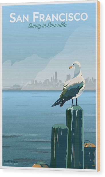 Sunny In Sausalito Wood Print
