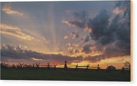 Sunrays At Sunset Wood Print