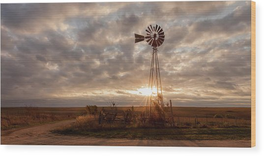 Wood Print featuring the photograph Sunrise And Windmill by Scott Bean