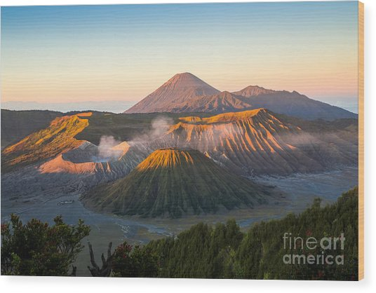 Sunrise At Mount Bromo Volcano, The Wood Print