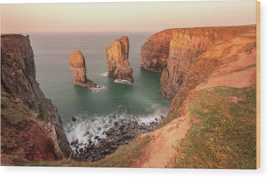 Wood Print featuring the photograph Sunrise At Stack Rocks by Elliott Coleman