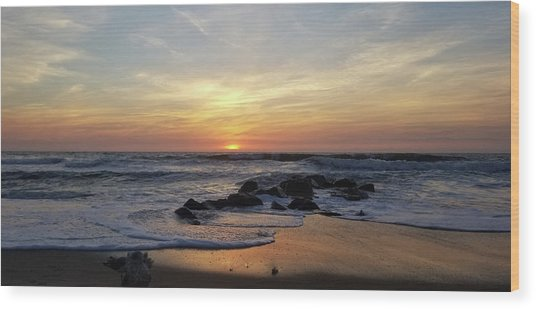 Sunrise At The 15th St Jetty Wood Print