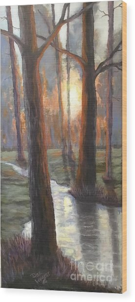 Sunrise Creek Wood Print