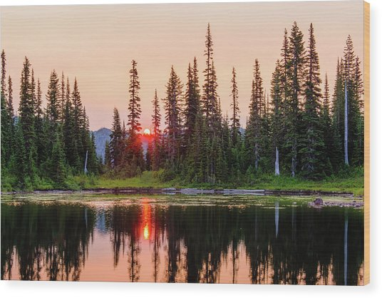 Sunrise From The Reflection Lake Wood Print