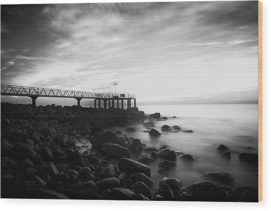 Sunrise In Black And White Wood Print